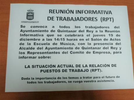 El comité de empresa del Ayuntamiento de Quintanar del Rey denuncia ante la Inspección de Trabajo una nueva convocatoria irregular a la plantilla