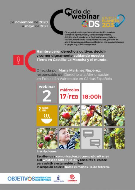 """Una webinar de Cáritas Cuenca trata el derecho a la alimentación y el objetivo de desarrollo sostenible """"hambre cero"""""""