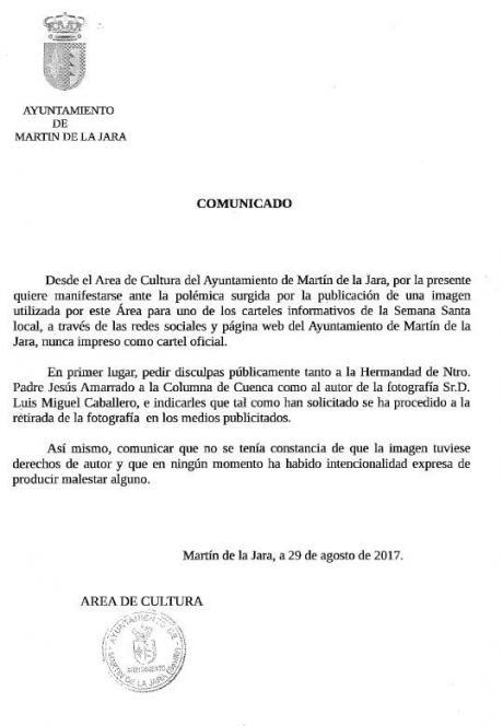 El Ayuntamiento sevillana de Martín de la Jara pide disculpas al Amarrado por usar un cartel sin permiso