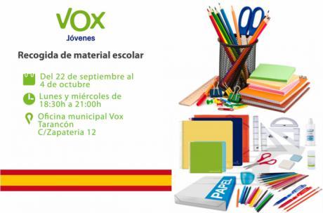 VOX Tarancón lanza una campaña de recogida de material escolar