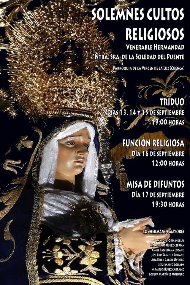 La V. H. de la Soledad del Puente celebra desde hoy y hasta el 17 sus solemnes Cultos de septiembre