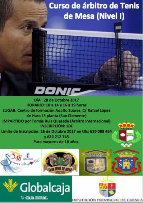 El próximo 28 de Octubre se realizará en San Clemente un curso de árbitros de Tenis de Mesa