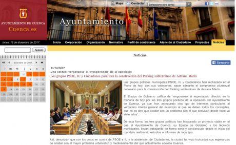 Denuncian el uso partidista de la web del Ayuntamiento por parte de Mariscal