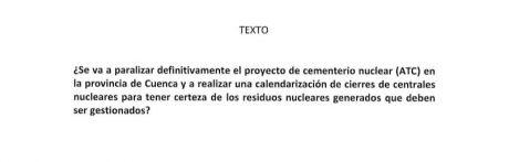 IU pregunta en el Congreso por la paralización del ATC en Villar de Cañas