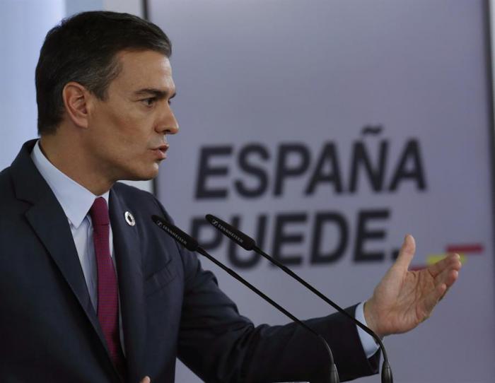Pedro Sánchez, en rueda de prensa ofrecida esta tarde en el Palacio de La Moncloa