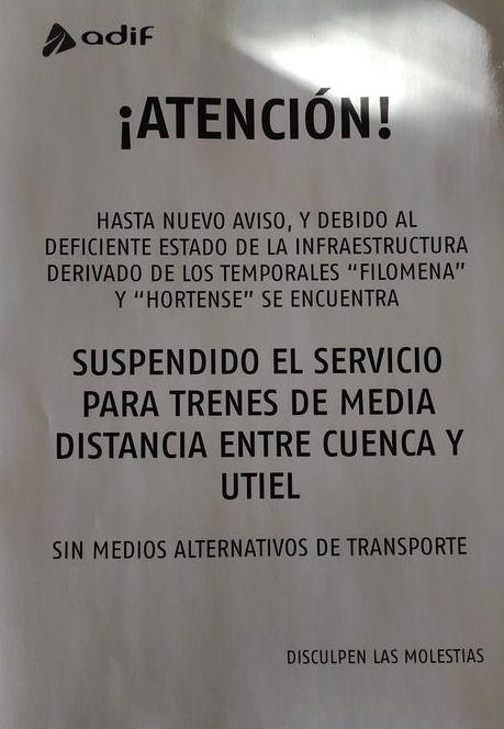 Solicitan a Adif que habilite un transporte alternativo mientras esté suspendida la conexión por tren de Cuenca con Valencia