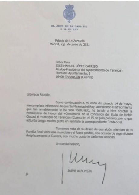 Su Majestad el Rey Felipe VI acepta la presidencia de honor del centenario como Noble Ciudad