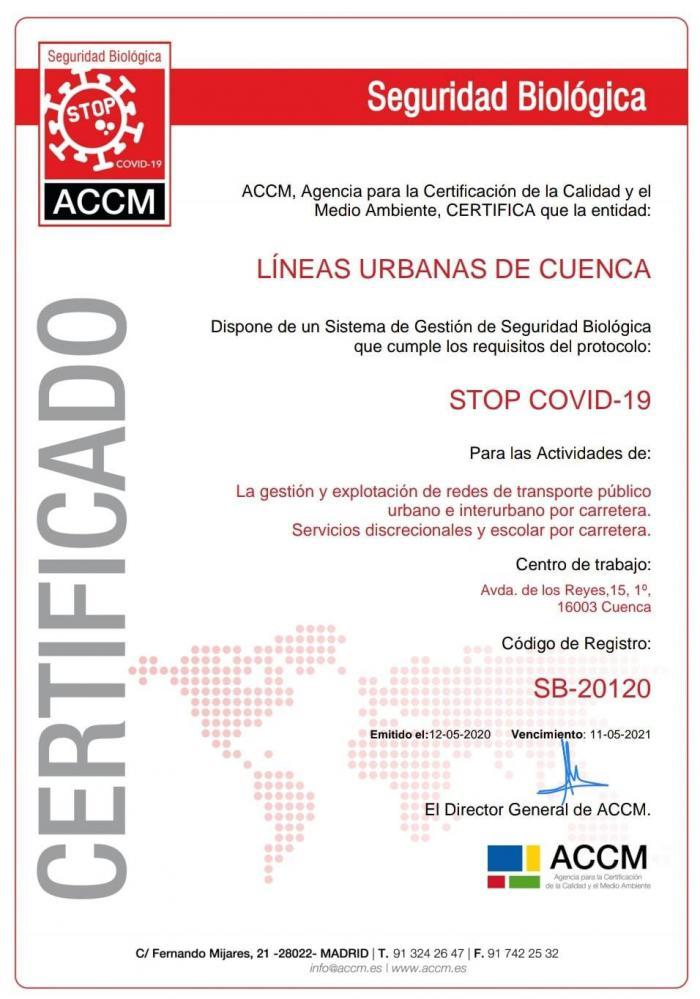 La empresa concesionaria del autobús urbano obtiene la certificación 'STOP Covid-19'