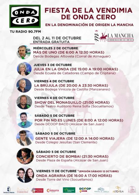 Las estrellas de Onda Cero celebran la Fiesta de la Vendimia desde las bodegas y cooperativas más prestigiosas de la DO La Mancha
