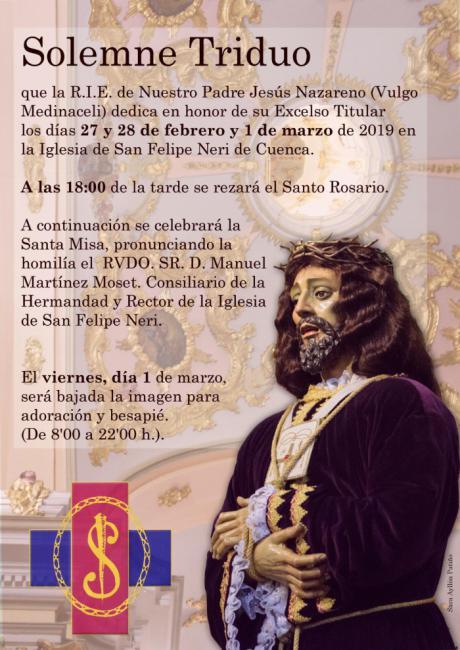 La R.I.E. de Nuestro Padre Jesús Nazareno (vulgo Medinaceli) celebra el 1 de marzo su solemne besapié a su Titular