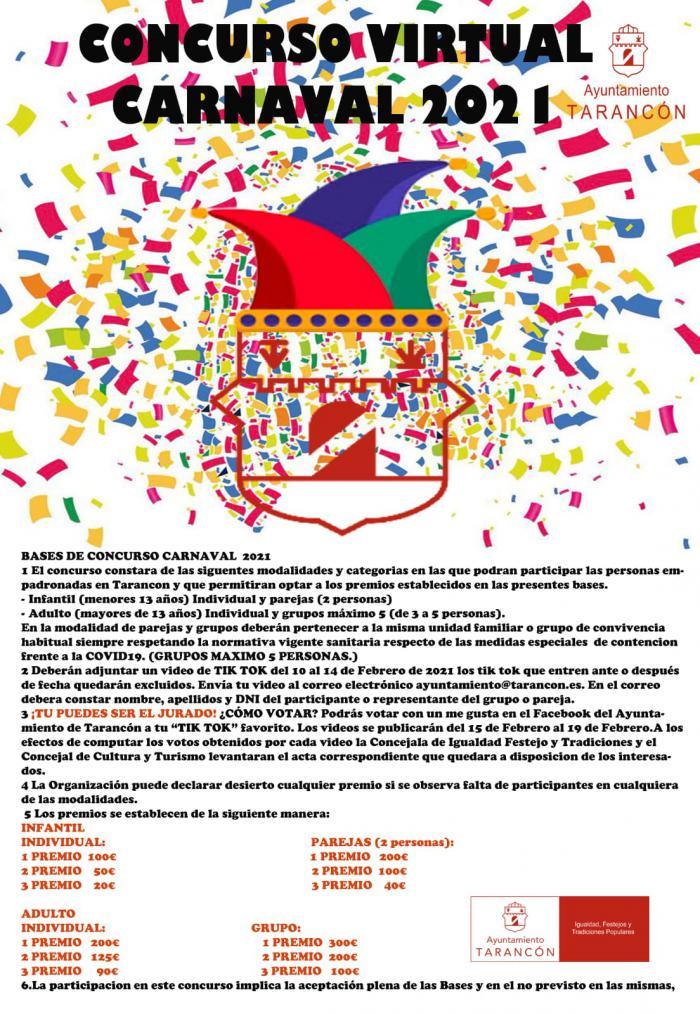 El Ayuntamiento de Tarancón convoca el I Concurso Virtual de Carnaval y Años 60 en categoría infantil y adulto