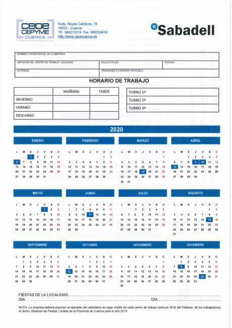 La Confederación de Empresarios envía a sus empresas el calendario laboral para 2020