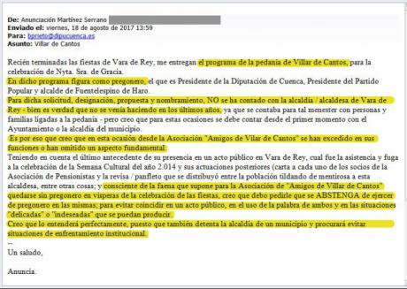 El PP denuncia el intento de veto de la alcaldesa de Vara de Rey para que Prieto no sea el pregonero de Villar de Cantos
