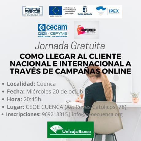 CEOE CEPYME Cuenca celebra el miércoles una jornada sobre llegar al cliente internacional de manera on-line
