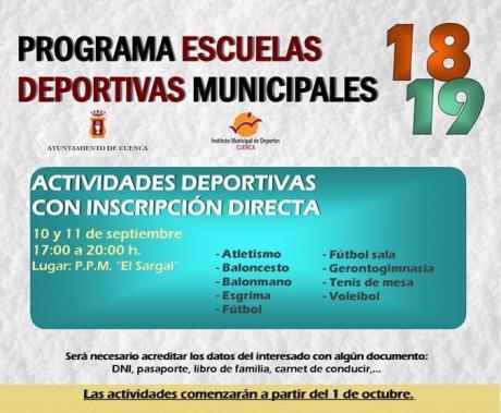 Las inscripciones directas a las actividades deportivas municipales se pueden realizar hoy y mañana