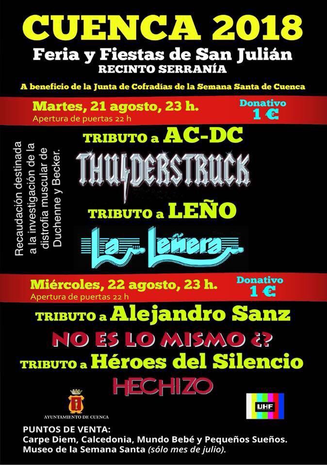 El tributo a AC-DC y a Leño y la representación de la obra de teatro 'Jueves Lardero' para este martes de feria