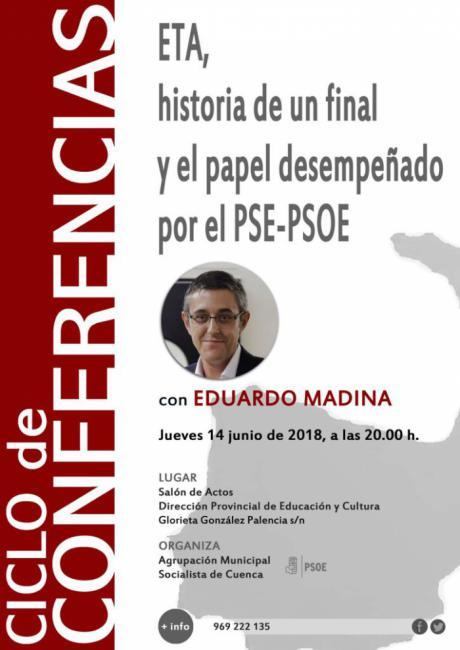 Eduardo Madina ofrecerá esta tarde en Cuenca una conferencia sobre el final de ETA