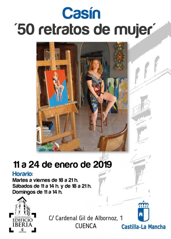 """La Sala Iberia acoge la exposición """"50 retratos de mujer"""" del artista conquense 'Casín'"""