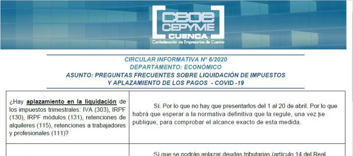 La Confederación de Empresarios informa a sus empresas sobre la liquidación de impuestos y el aplazamiento de pagos