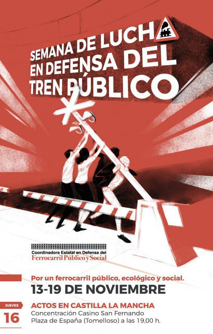 IU se suma a la Semana de Lucha por un Ferrocarril Público, Ecológico y Social convocada en todo el país entre el 13 y el 19 de noviembre.
