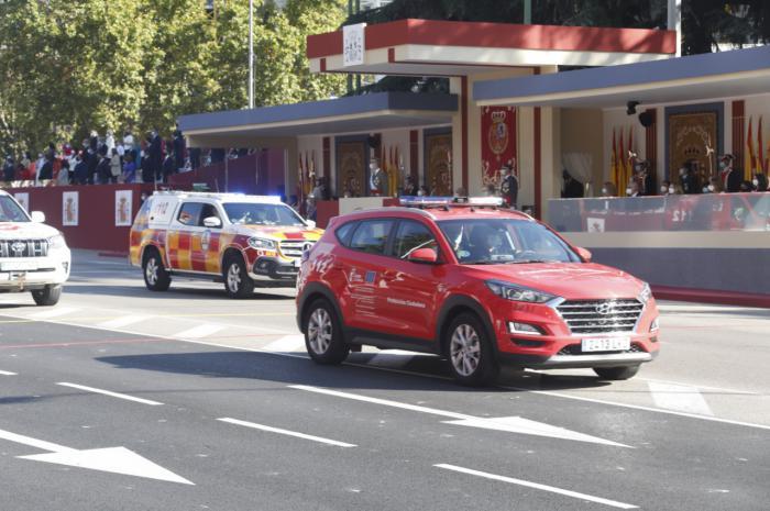 El 112 y Protección Civil representan a Castilla-La Mancha en el desfile con motivo de la Fiesta Nacional, en Madrid