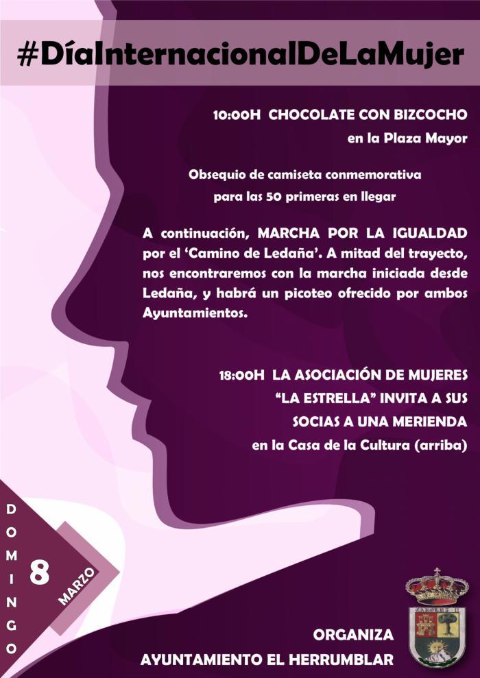 Chocolatada y Marcha por la Igualdad para celebrar el Día Internacional de la Mujer en El Herrumblar