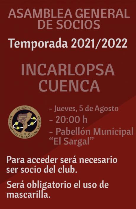 El Incarlopsa Cuenca celebra este jueves una asamblea general ordinaria