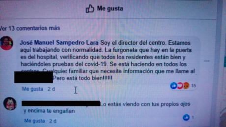 """El mismo director de la residencia, en sus redes sociales, publicaba estos días que """"La furgoneta que hay en la puerta es del Hospital, verificando que los residentes estén bien y haciéndoles pruebas del COVID-19"""""""