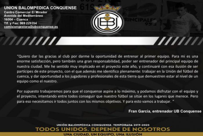 El banquillo de la UB Conquense ya tiene nuevo inquilino: Fran García
