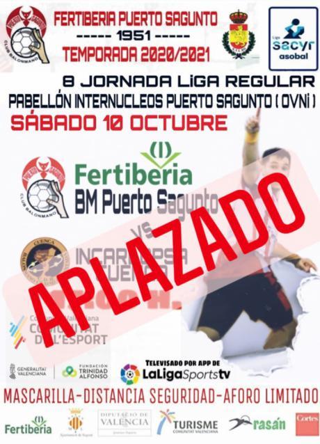 Aplazado el Fertiberia Puerto de Sagunto-Incarlopsa Cuenca por positivos en Covid-19 en el equipo conquense