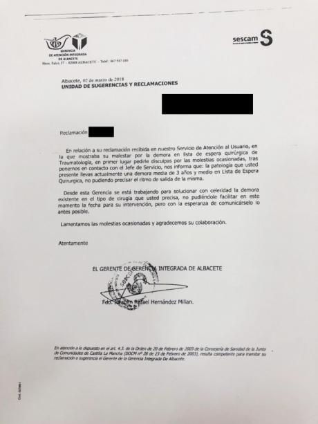 Una vecina de Villanueva de La Jara tendrá que esperar tres años y medio para ser operada en el Sescam