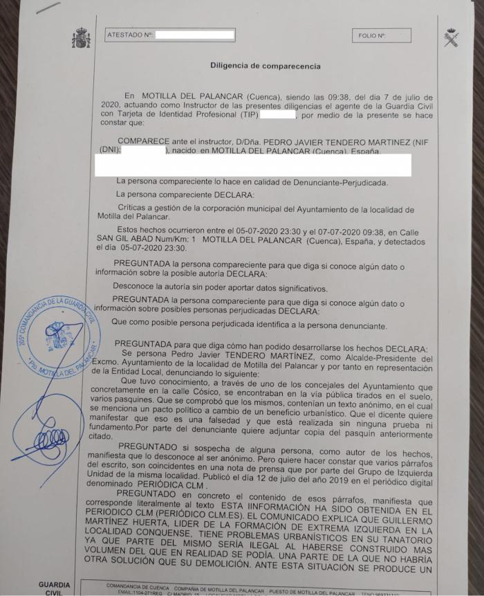 El alcalde de Motilla denuncia ante la Guardia Civil la aparición de anónimos que contienen acusaciones difamatorias hacia su persona