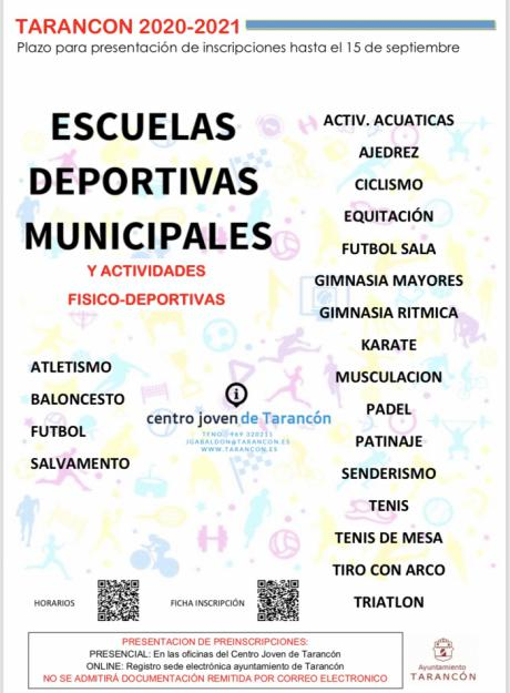 El Ayuntamiento de Tarancón abre el plazo de inscripción para las Escuelas Deportivas Municipales