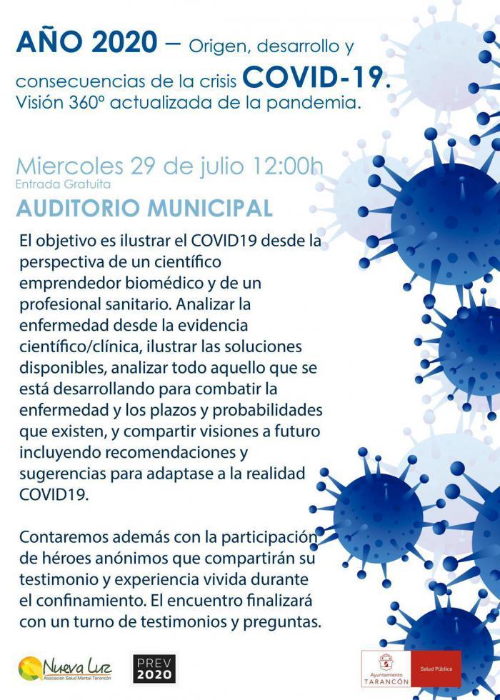 El Auditorio de Tarancón acoge el miércoles 29 de julio la jornada ´Año 2020. Origen, desarrollo y consecuencias de la crisis COVID-19´