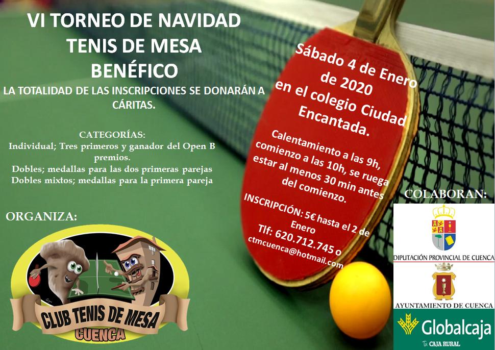 El 4 de enero será el próximo torneo de tenis de mesa en la capital conquense y será benéfico