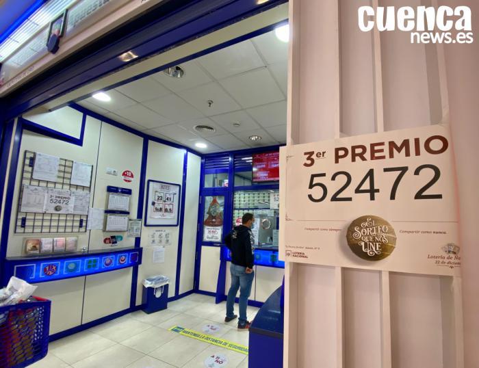 El número 52.472, tercer premio del Sorteo de Navidad, llega a Cuenca