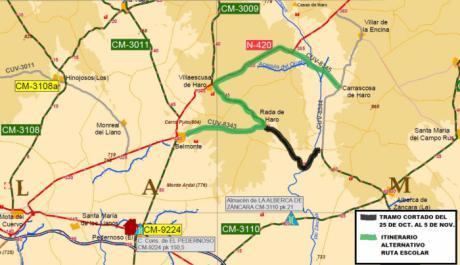 Fomento inicia este lunes los trabajos de mejora de la CM-3009 en La Alberca de Záncara y Villaescusa de Haro