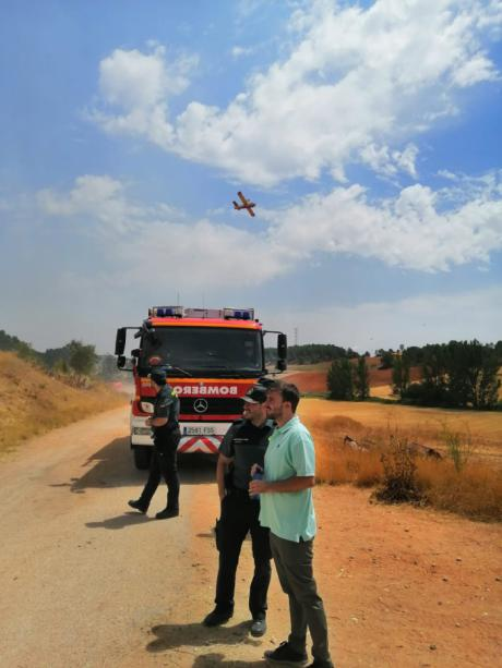El diputado provincial Daniel Pérez Osma visita la zona del incendio de Barchín del Hoyo