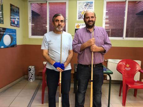 Javier Mora y Julián Mora brillantes vencedores del Campeonatos de San Julián de Billar a la Banda