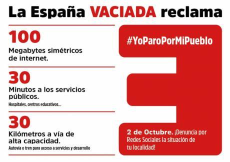 """La España Vaciada exige equilibrio territorial con el Plan 100/30/30 en el """"Yo paro por mi pueblo"""" del 2 de octubre"""