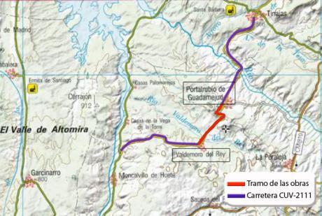 Las obras de mejora de la CUV-2111 entre Valdemoro del Rey y Portalrubio de Guadamejud obligan a cortar el tráfico casi un mes