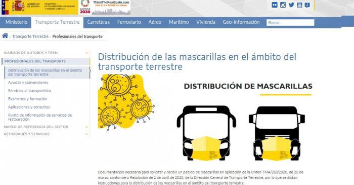La Confederación de Empresarios traslada que el Ministerio de Transportes realiza un segundo reparto de mascarillas