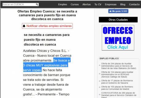 Denuncian una oferta de empleo en la que buscan a tres mujeres 'explosivas'