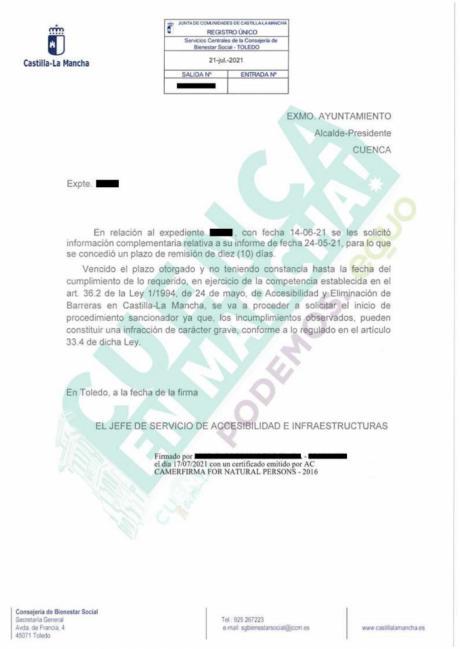 Desvelan que la Junta inició un procedimiento sancionador contra el Ayuntamiento por no cumplir la Ley de Accesibilidad