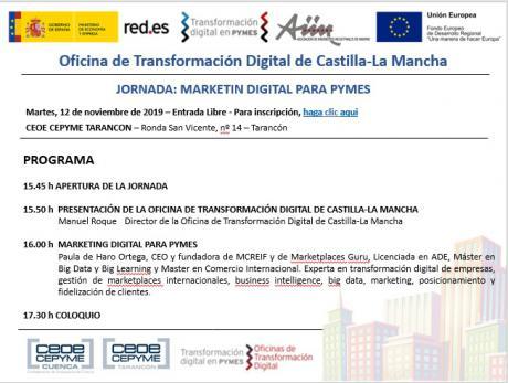 CEOE CEPYME Tarancón acogerá este martes una jornada de marketing digital para Pymes
