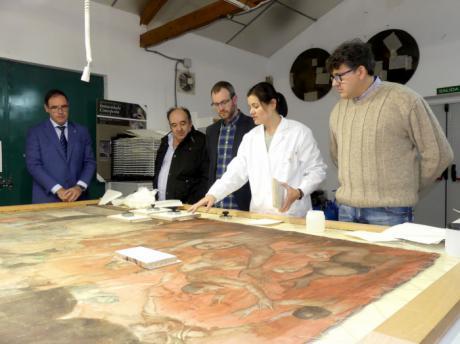 Diputación acomete la restauración de un lienzo de ánimas del siglo XVIII de Villaescusa de Haro
