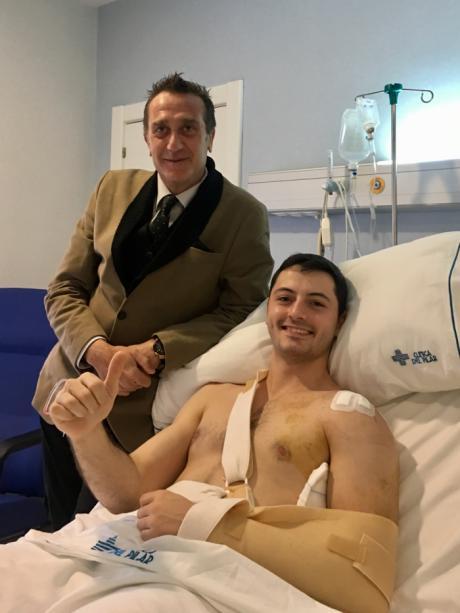 Sergio López, jugador del Ciudad Encantada, operado con éxito en la Clínica del Pilar de Zaragoza