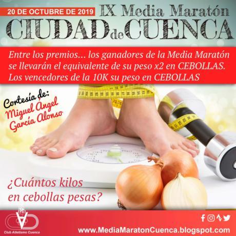 Premiarán con kilos de cebolla a los ganadores de la Media Maratón de Cuenca