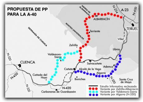 Teruel Existe considera un despropósito el anteproyecto de la A-40 entre Cuenca y Teruel
