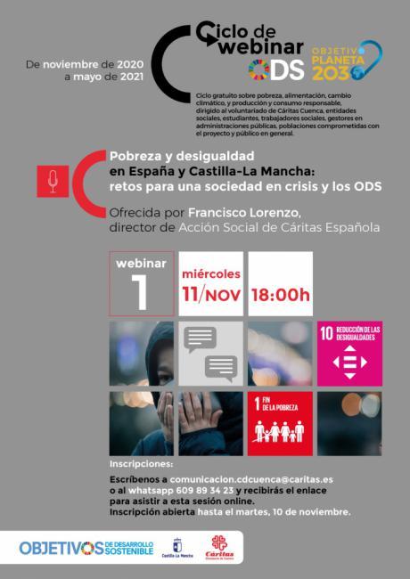 Cáritas Cuenca trata en un webinar la pobreza y desigualdad en España en el marco de los objetivos de desarrollo sostenible